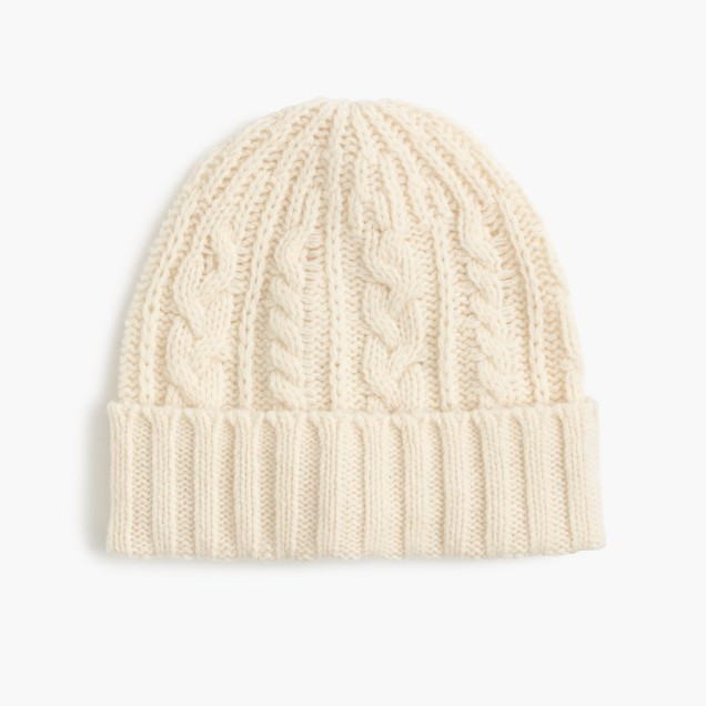 Lambswool cable-knit hat