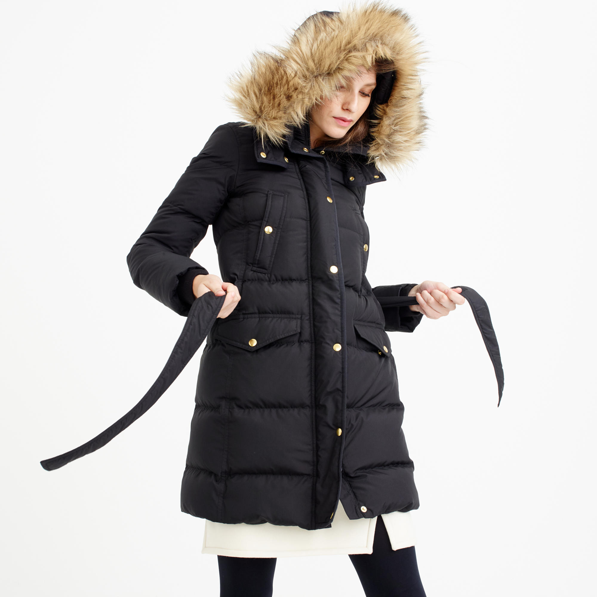 Petite wintress puffer coat with faux-fur hood : | J.Crew