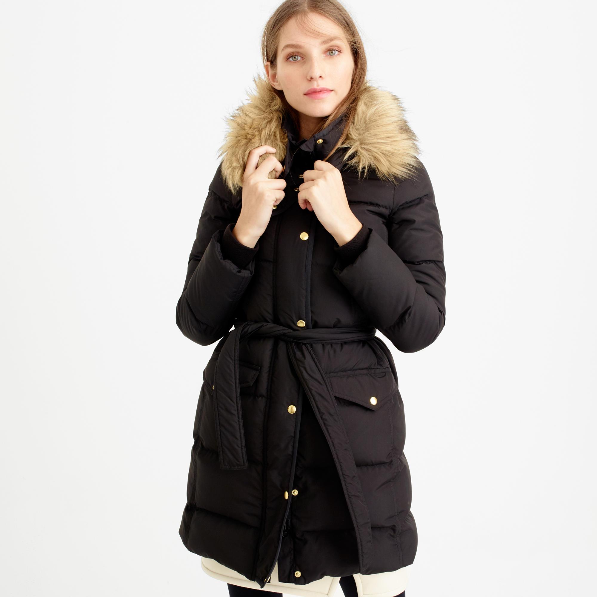 Petite wintress puffer coat with faux-fur hood : | J.Crew
