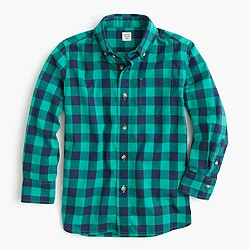 Boys' Secret Wash shirt in green and blue gingham