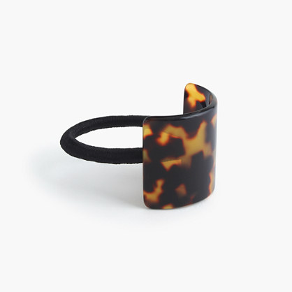 Hair elastic with square Italian tortoise