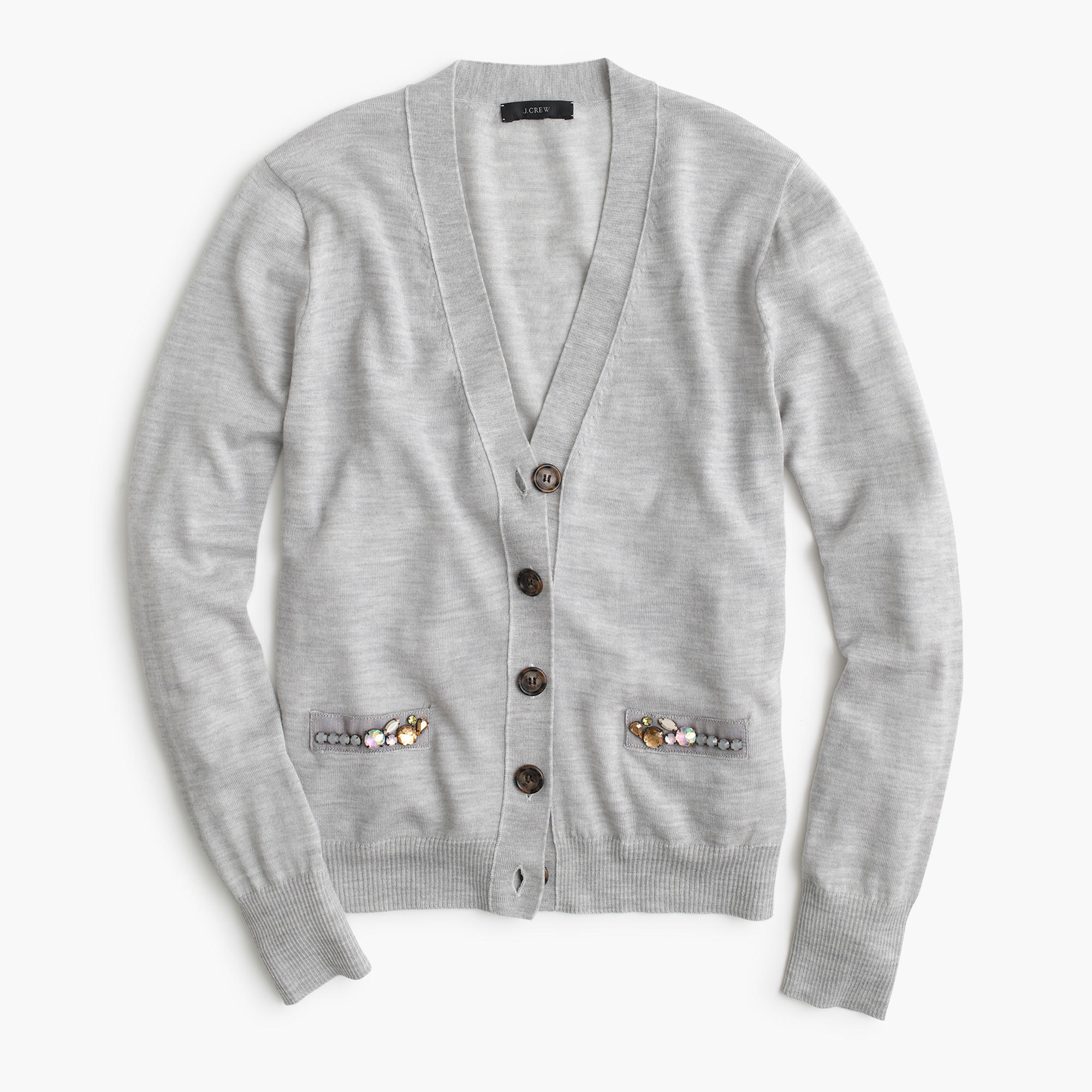 V-neck cardigan sweater with embellished pocket : | J.Crew