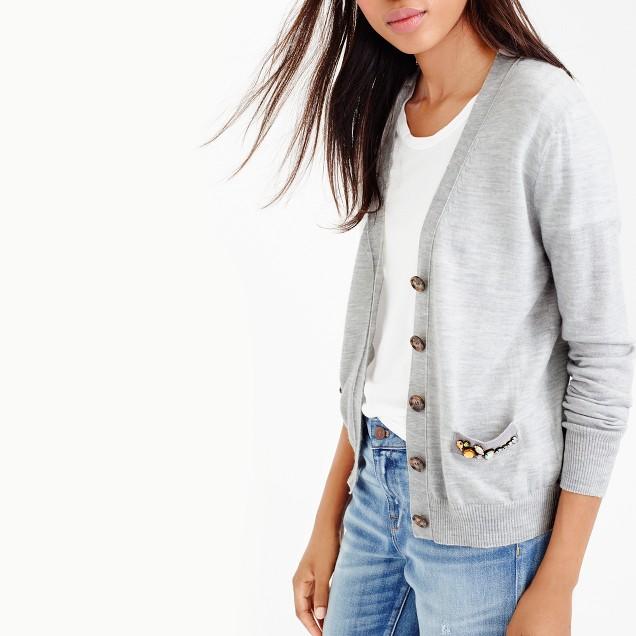 V-neck cardigan sweater with embellished pocket