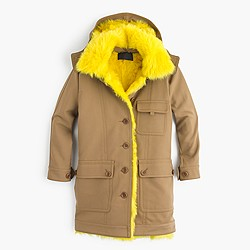 Collection coat with canary shearling lining