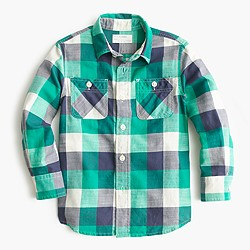 Boys' flannel shirt in large emerald plaid