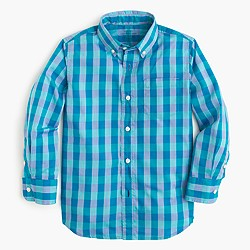 Boys' Secret Wash shirt in spring gingham