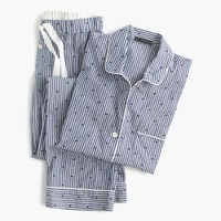 Cotton textured-dot sleep set in stripe