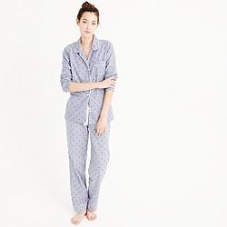 Petite cotton textured-dot sleep set in stripe