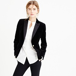 Petite Campbell blazer in velvet with peak lapel