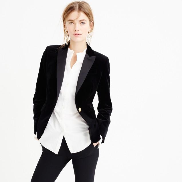 Campbell blazer in velvet with peak lapel