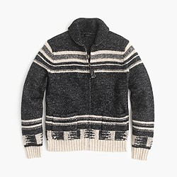 Cotton-merino wool shawl-collar zip-up cardigan sweater