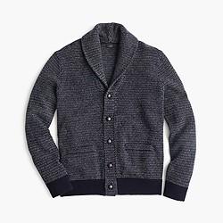 Textured lambswool shawl-collar cardigan sweater