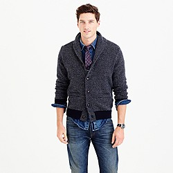 Textured lambswool shawl-collar cardigan sweater