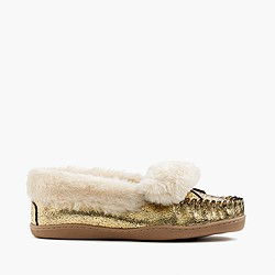 Women's crackled metallic suede lodge moccasins