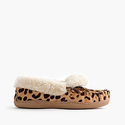 Women's leopard calf hair lodge moccasins