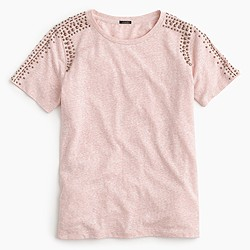 Beaded-shoulder T-shirt