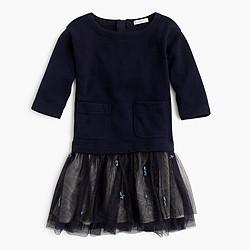 Girls' embellished sweatshirt tulle dress