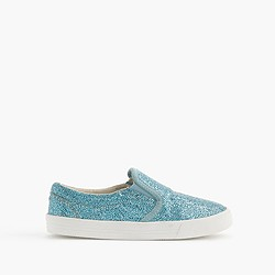 Girls' slide sneakers in crosshatch glitter