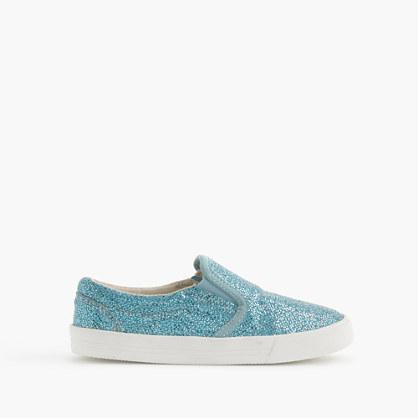 Girls' slide sneakers in crosshatch glitter