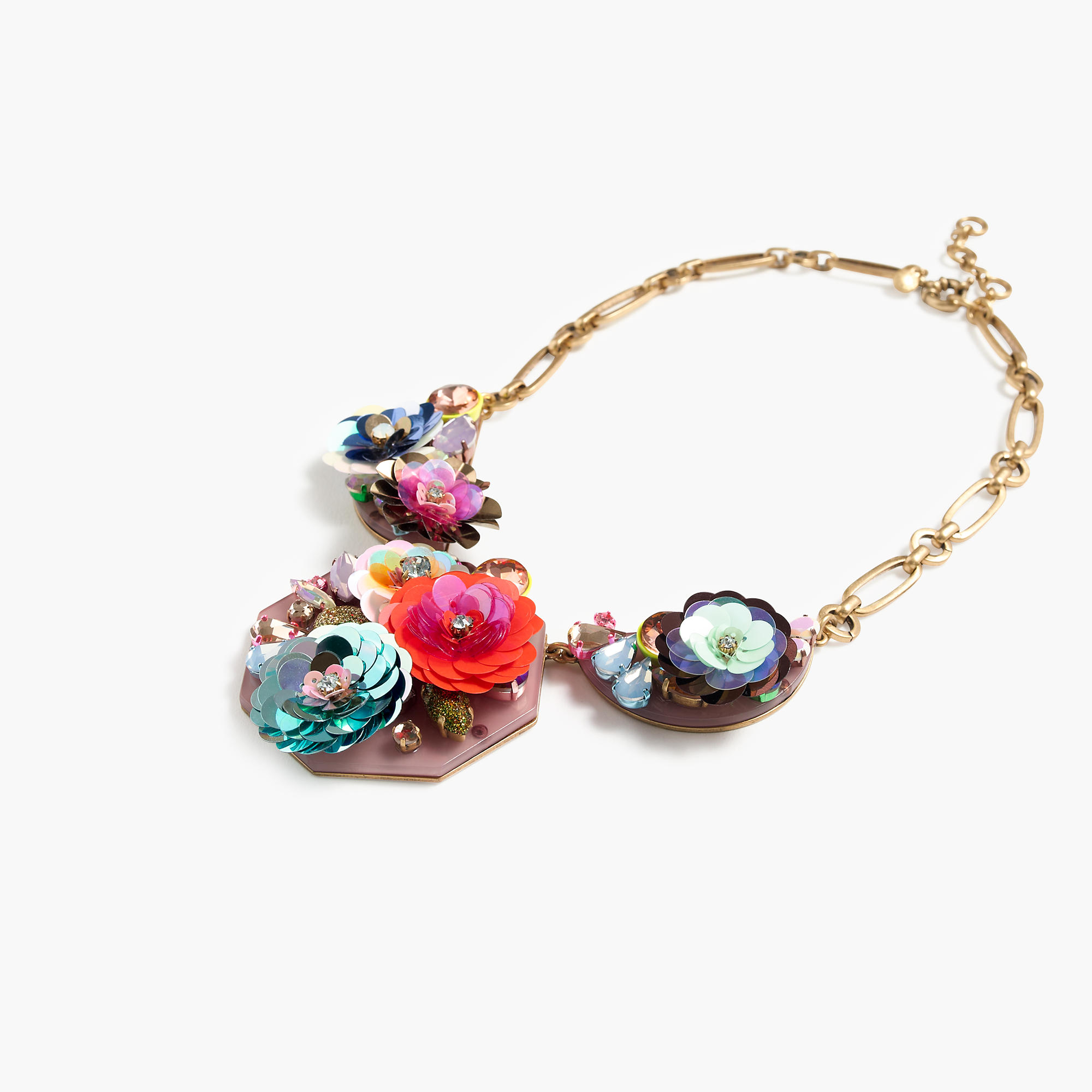Blooming sequin paillette bib necklace j crew for J crew jewelry 2015