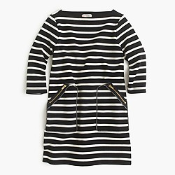 Girls' striped shift dress with zippers