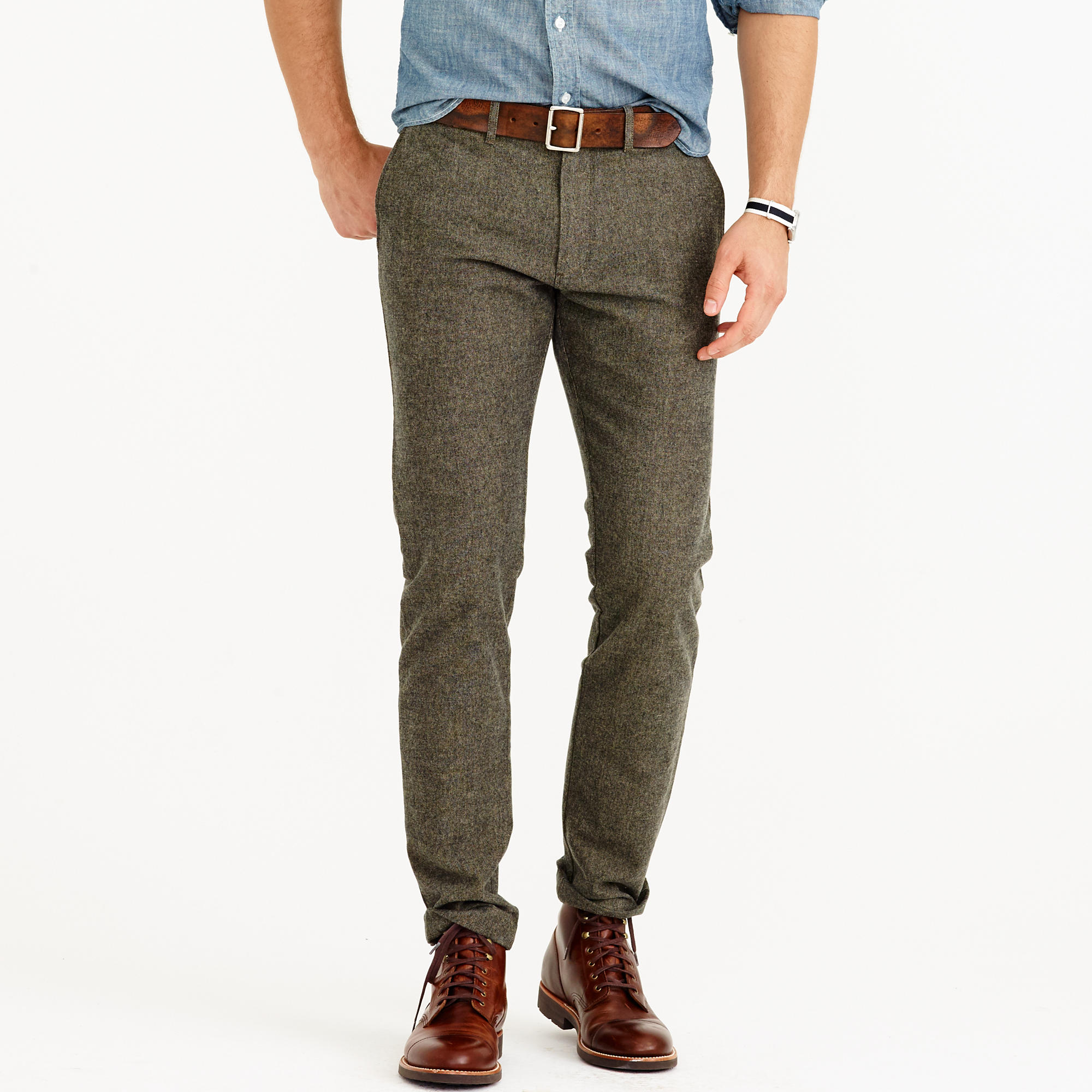 Brushed cotton twill mélange chino pant in 484 slim fit : | J.Crew