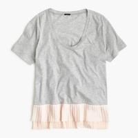 Pleated chiffon-hem T-shirt