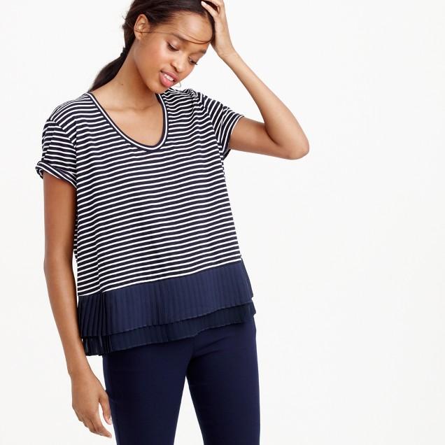 Pleated chiffon-hem striped T-shirt