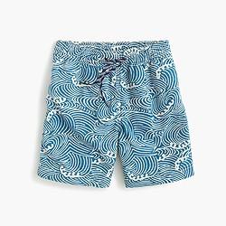 Boys' swim trunk in swirly waves