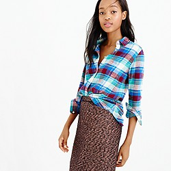 Shrunken boy shirt in gemstone plaid