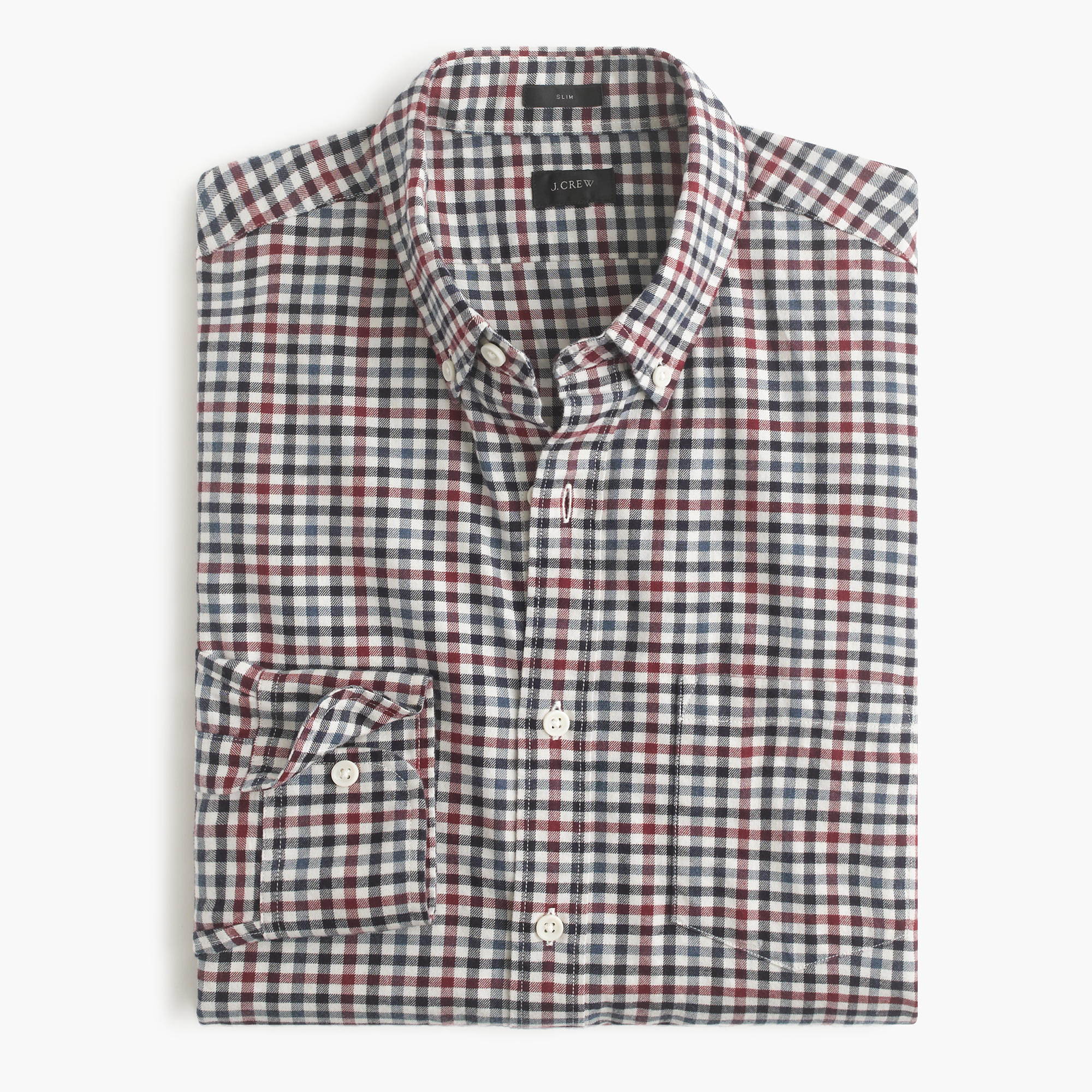 Slim Brushed Twill Shirt In District Check J Crew