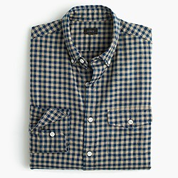 Slim brushed twill shirt in mini buffalo check