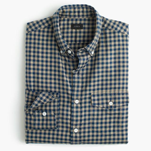 Slim brushed twill shirt in mini buffalo check j crew for Brushed cotton twill shirt