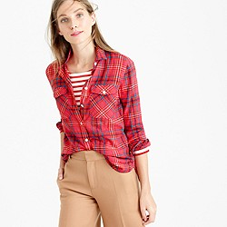 Petite boyfriend shirt in cerise plaid