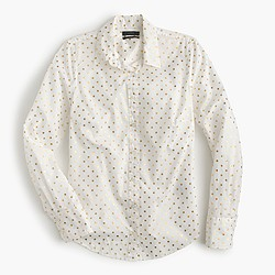 Petite perfect shirt in foil dot