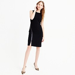Sheath dress with faux leather