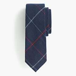 The Hill-side® brushed flannel point tie in narrow check
