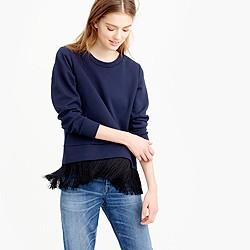 Sweatshirt with fringe hem