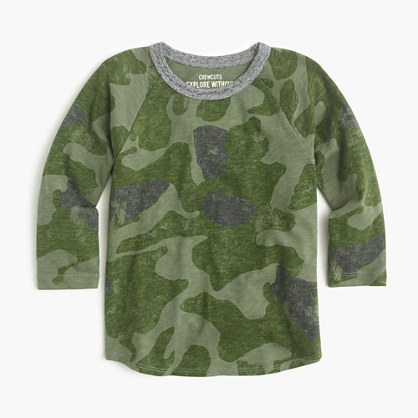Boys' camo baseball T-shirt
