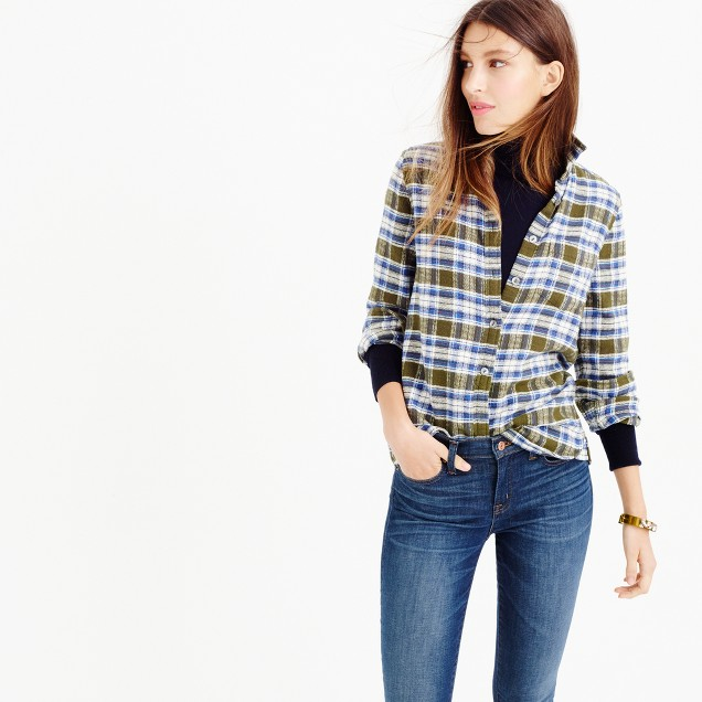 Shrunken boy shirt in misty forest plaid