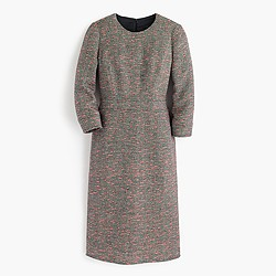 Neon tweed long-sleeve dress