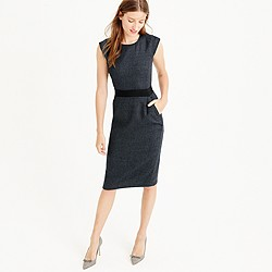 Cap-sleeve dress in mini-dot wool
