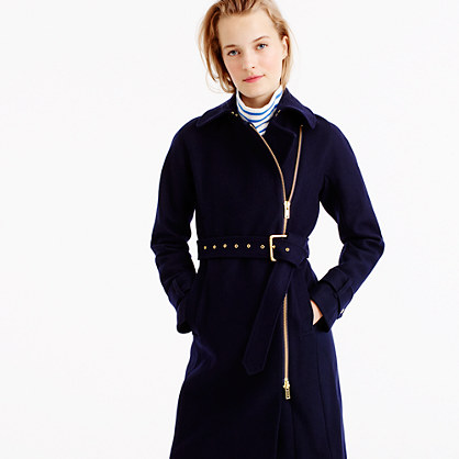 Belted zip trench coat in wool melton