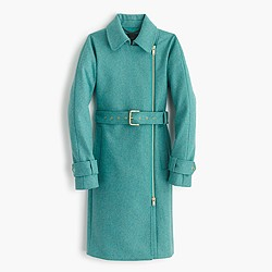 Petite belted zip trench coat in wool melton