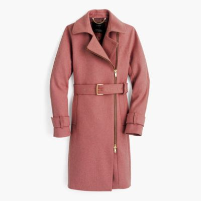 Belted Zip Trench Coat In Wool Melton : Women's Coats & Jackets
