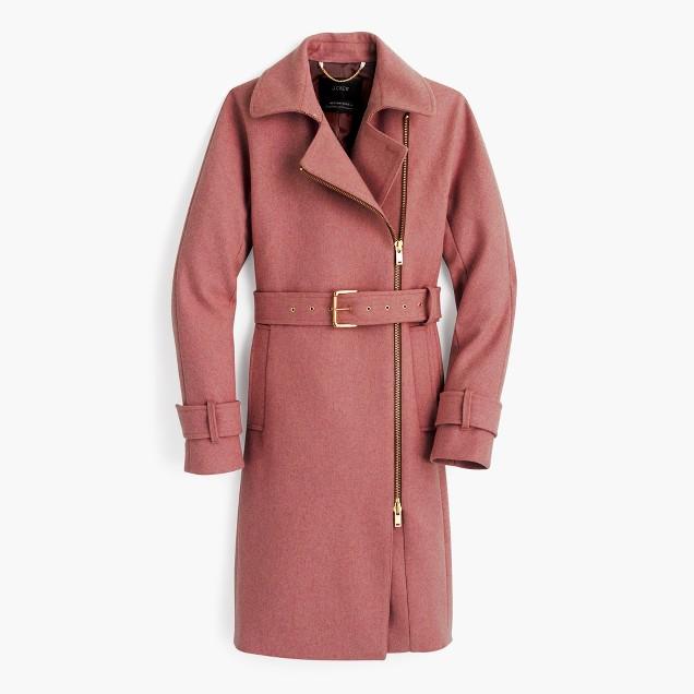 Belted Zip Trench Coat In Wool Melton : Women's Coats & Jackets ...