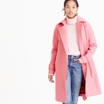 Petite Belted Zip Trench Coat In Wool Melton : Women's Coats
