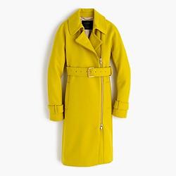 Petite belted zip trench coat in wool melton