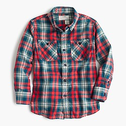 Kids' flannel shirt in multicolor plaid