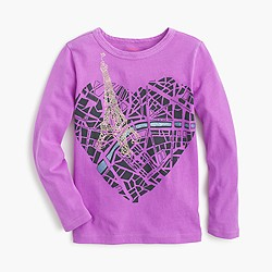 Girls' metallic map of Paris T-shirt